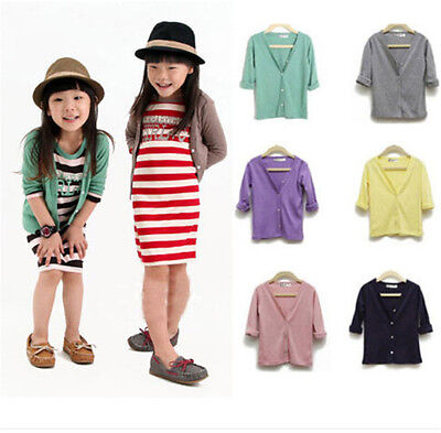 New Style Toddler Kids Clothing Girls Cotton V Collar Cardigan Tops Coats Sz2-7Y