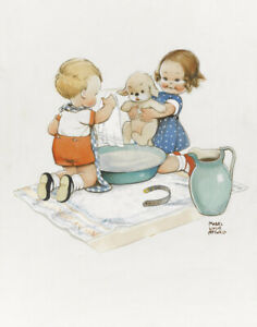 Mabel Lucie Attwell Two Children Bathing A Puppy Canvas Print 16 x 20     # 6136