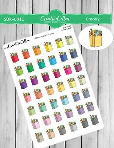 SDK-0011 Planner Stickers Functional Icons 42 Grocery Bags Groceries Shopping
