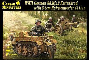 Caesar-Miniatures-1-72-WWII-German-SdKfz-2-Kettenkrad-amp-Raketenwerfer-CMF96-NEW