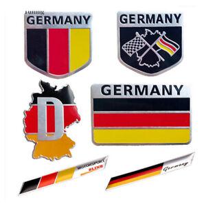 3D-Aluminio-Auto-Emblema-Coche-Alemania-Bandera-Logo-Etiqueta-Insignia-Parrilla