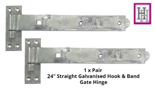 STRAIGHT HOOK /& BAND GALVANISED HINGE HEAVY DUTY STABLE GARAGE SHED BARN DOOR D4