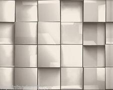 Característica Papel Pintado 3D Cuadrado Geométrico Funky Moderno Retro Efecto Espejo Blanco