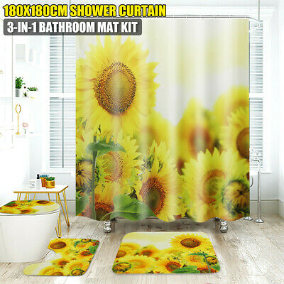 Shower Curtain 4X Sunflower Decor Bathroom Rug Bath Mat Toilet Seat Lid Cover