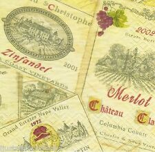 TWENTY (20) Classic Wine Labels BEVERAGE PAPER NAPKIN Decoupage Servietten