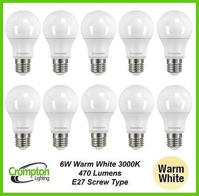 BULK LED 6W Pearl Light Globes Bulbs Lamps A60 GLS Screw E27 Warm White 3000K