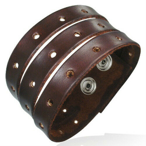 GIFTS FOR MEN – NEW Genuine Brown Leather 3 Row Snap Wristband Bracelet