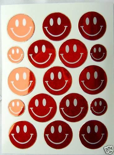 AUFKLEBER Sticker Smileys SMILEY 17 Stück rot