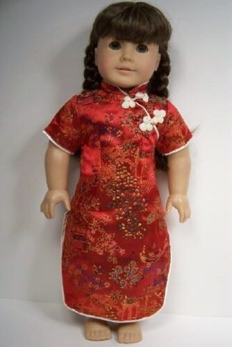 """Debs RED Oriental Asian Dress Costume Doll Clothes For 18/"""" American Girl"""