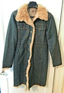 Mojo-Moda-Blue-Denim-Rabbit-Fur-Lined-Coat-Womens-Large-Long-Jacket-Button