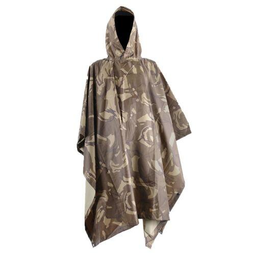 Men Outdoor Military Army Camo Raincoat Hooded Camping Hunting Waterproof Coat