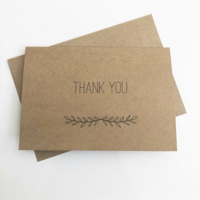 10 Pack - Thank You Cards Kraft Recycled Card with Matching Envelopes C6 Size