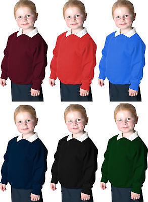 Boys Girls Unisex Jumper Sweatshirt Crew Round Neck School Uniform Ages 1-14 Schnelle Farbe