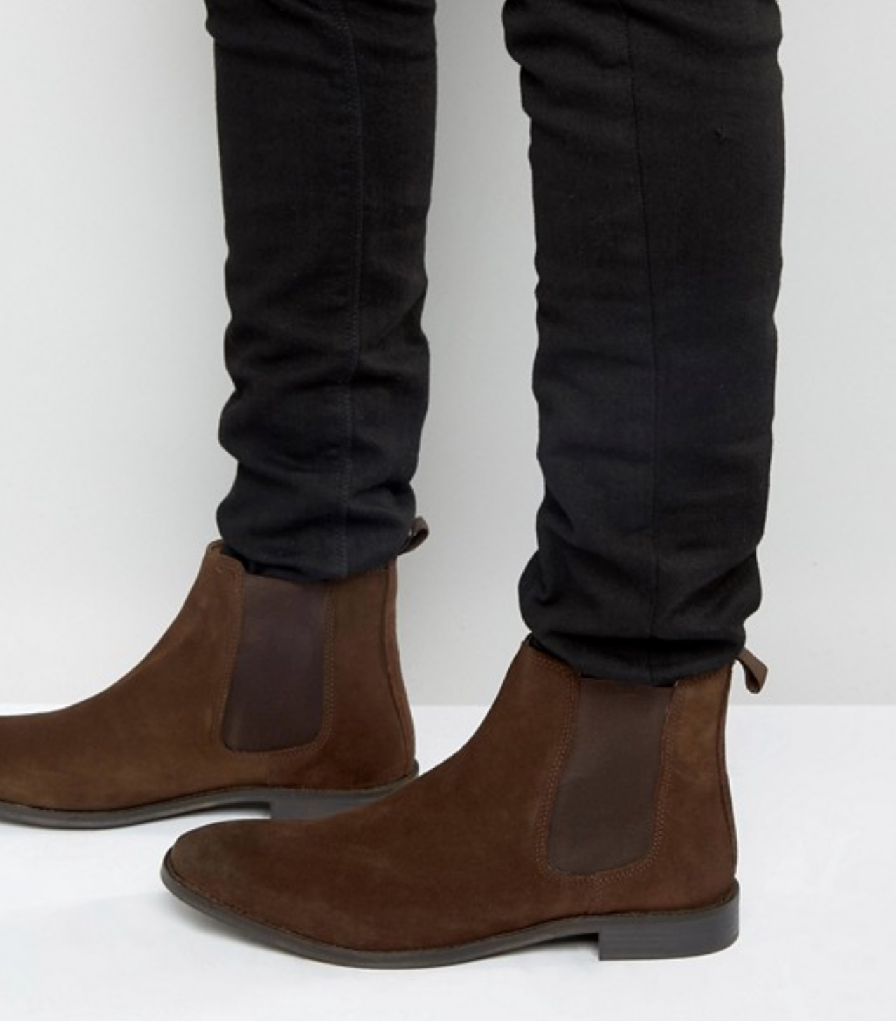 Mens Brown Genuine Suede Leather Dress High Top Chelsea Boots w  Pull Tab