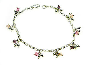 925-Sterling-Silver-Bracelet-with-coloured-crystal-amp-Silver-droppers