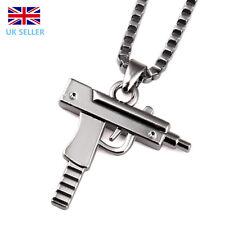 Silver Plated Unisex Mens Machine Gun Pendant Necklace Long Chain Jewellery