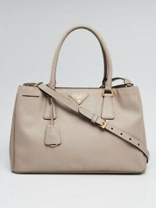 dbdaef83d3a2 Image is loading Prada-Argilla-Saffiano-Lux-Leather-Small-Tote-Bag