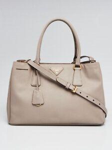 a53df5280a39 Image is loading Prada-Argilla-Saffiano-Lux-Leather-Small-Tote-Bag
