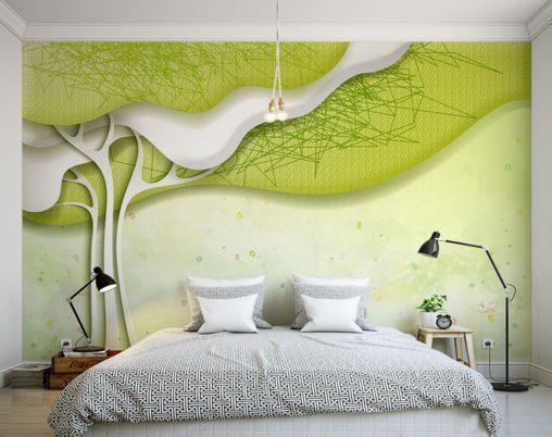 3D alberi verdi 12 Parete Murale Carta da parati immagine sfondo muro stampa