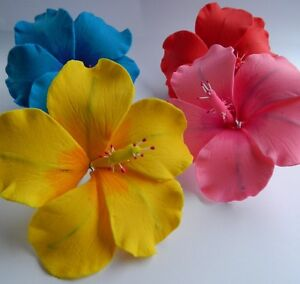 4 Edible Hibiscus Flower Icing Cake Cupcake Topper Decoration
