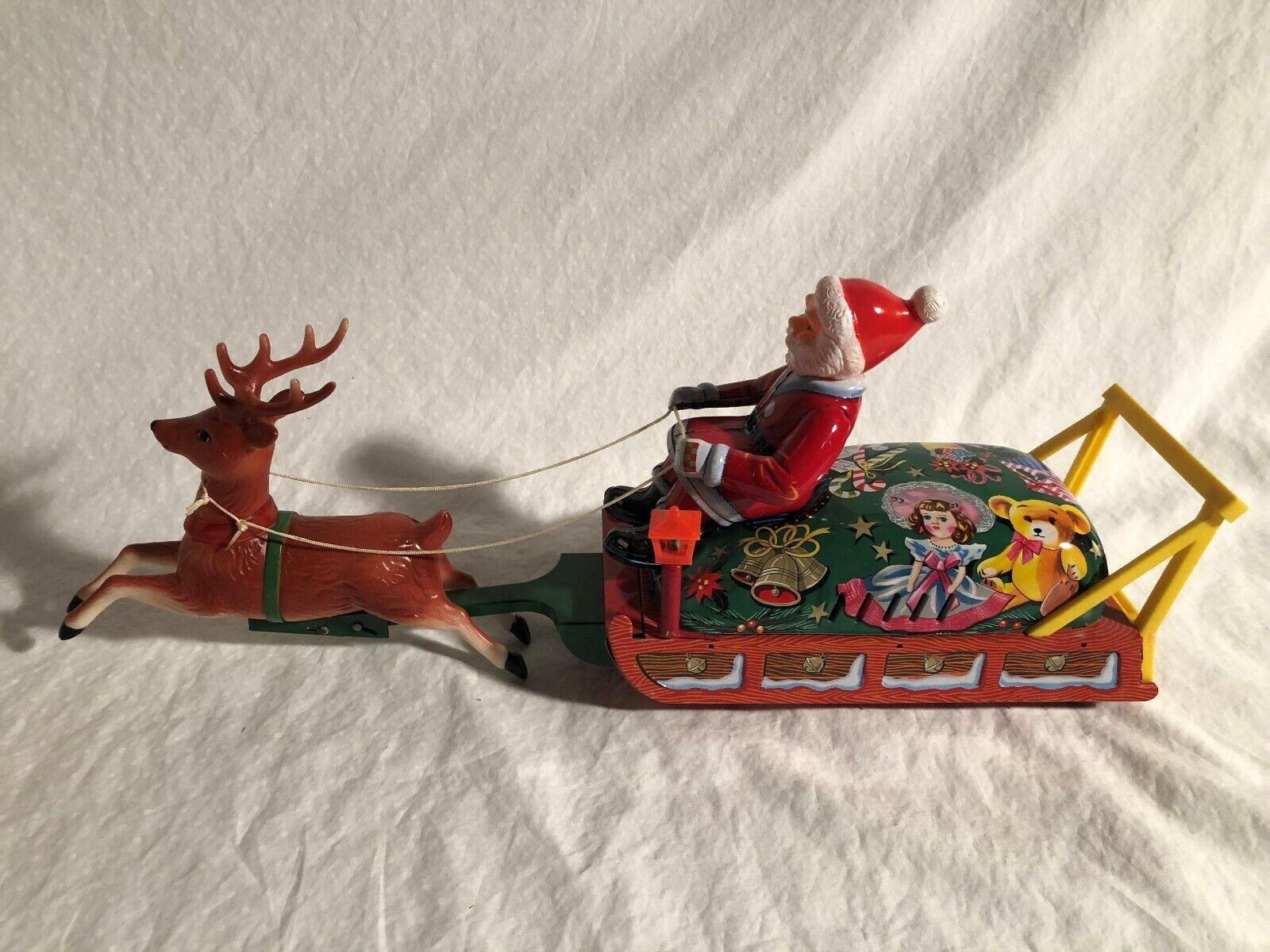 Modern Toys Japan Japan Japan LARGE Battery Operated Santa Claus On Reindeer Sleigh Box cf55d7