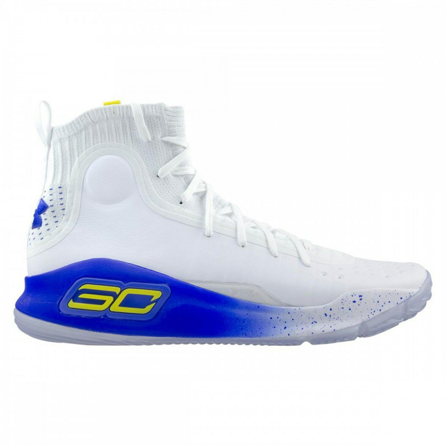 Under Armour UA Curry 4 size 11.  White Blue Yellow. Warriros Home. 1298306-100.