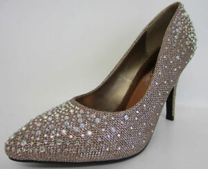 Image Is Loading L2280 Anne Michelle Pointed Toe Diamante Wedding Shoes