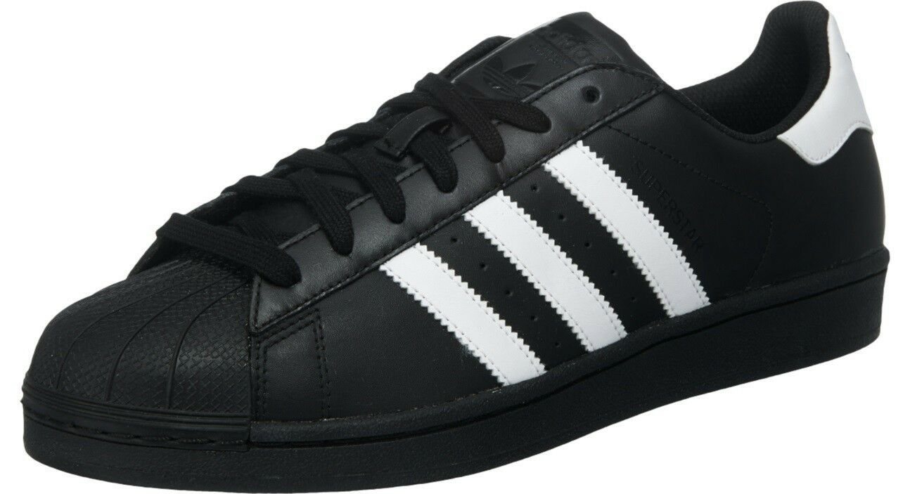 ADIDAS ORIGINALS SUPERSTAR Adulti NERO CON bianco bianco bianco pelle Adulti 88aed1