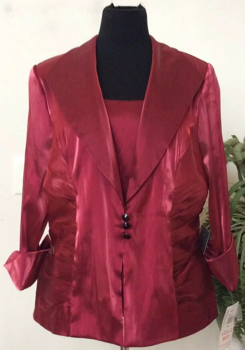 NWT XSCAPE Woman By Joanna Chen rot 2 Piece Formal & Evening Blouse Sz 16W