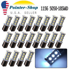 20x Cool White 1156 BA15S 18smd RV Tail Brake Stop Turn Signal LED Light Bulbs