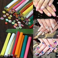 10x Mixed 3D Canes Rods Fimo Clay Fruit Flower Sticks Nail Art Charm Decoration