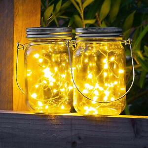 Mason-Jar-Lid-Fairy-String-Solar-Powered-LED-Lights-Lamp-Garden-Home-Party-Decor