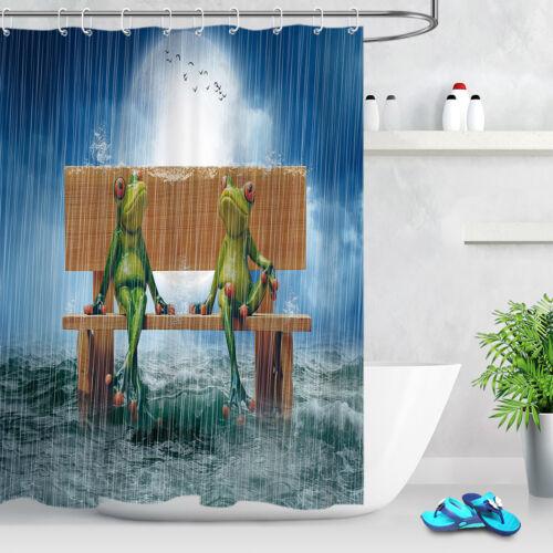 Funny Frogs Rainy Day Shower Curtain Set Waterproof Fabric Bathroom w//12 Hooks