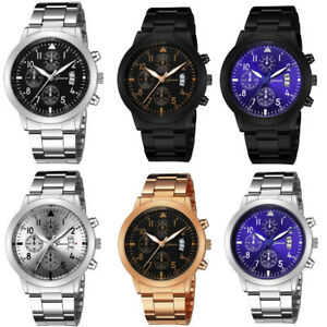 Men-039-s-Luxury-Quartz-Sport-Military-Stainless-Steel-Dial-Leather-Band-Wrist-Watch