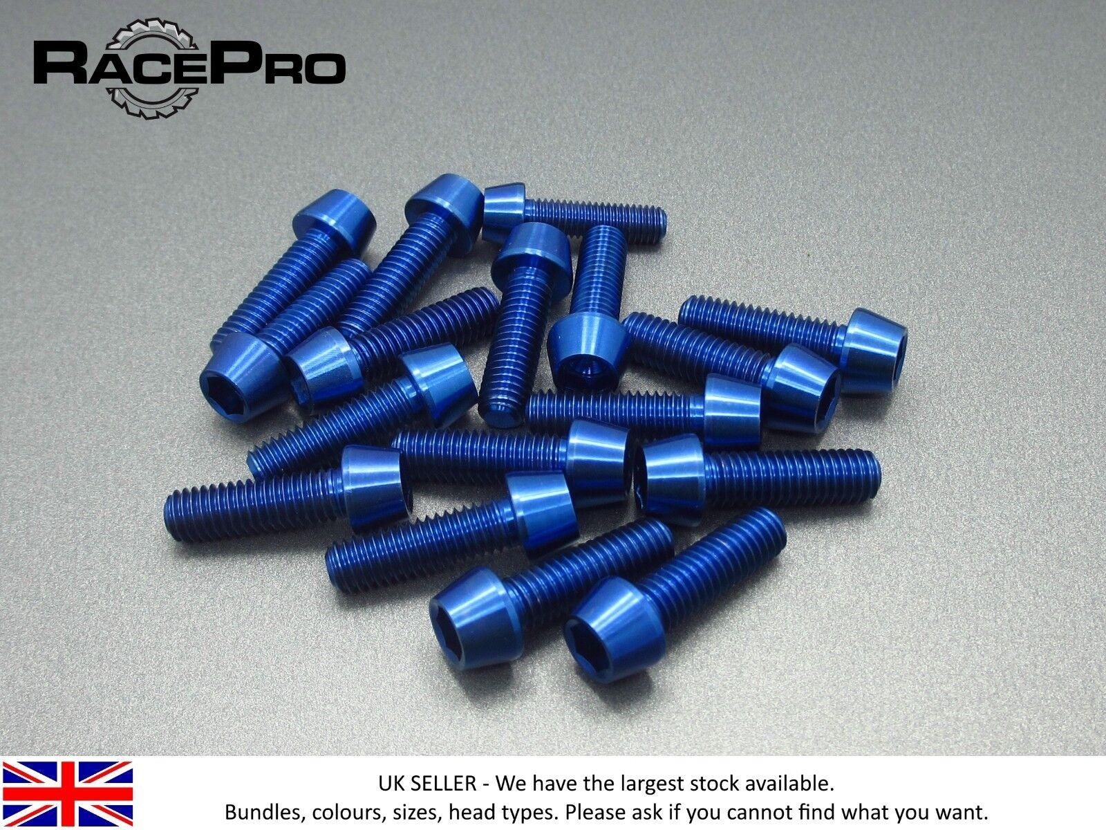 Racepro - 12 x TITANIO CONICO PRESA Bullone Allen - M6 x 29mm x 1mm - bluee