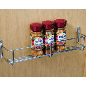 Image Is Loading SPICE RACK SINGLE TIER 300mm CHROME KITCHEN CUPBOARD