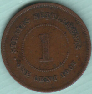 Straits Settlements 1901 Queen Victoria 1 cent copper coin N40