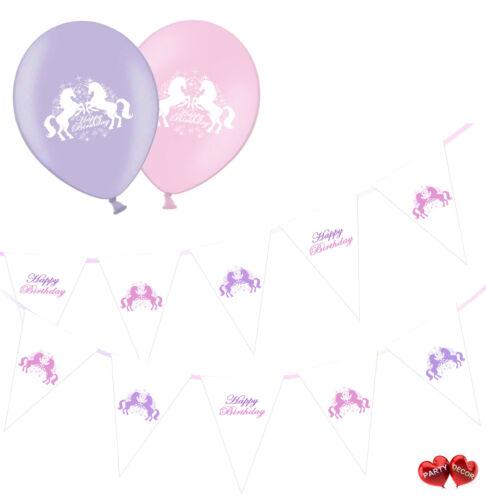 Ultimate Bundle of Unicorn Bunting Banner and 8 Unicorn Happy Birthday Balloons