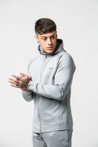 Men/'s Gym Zip Jacket Blue and Grey Active Wear Slim Fit OPENING SALE