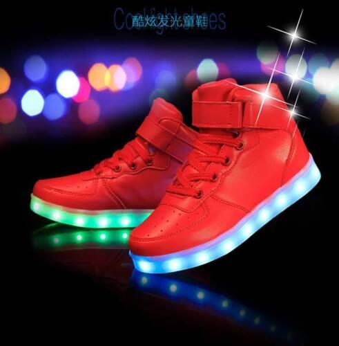 Boys Girls High top LED Light Up Shoes Luminous Sneakers Men Unisex KIDS Shoes