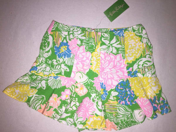 Lilly Pulitzer 00 Folly Skort Hibiscus Stroll Pink Green Yellow Floral Womens
