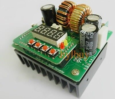 Digital Led 400W 10A DC Step-up constant voltage current boost Converter 8V-80V