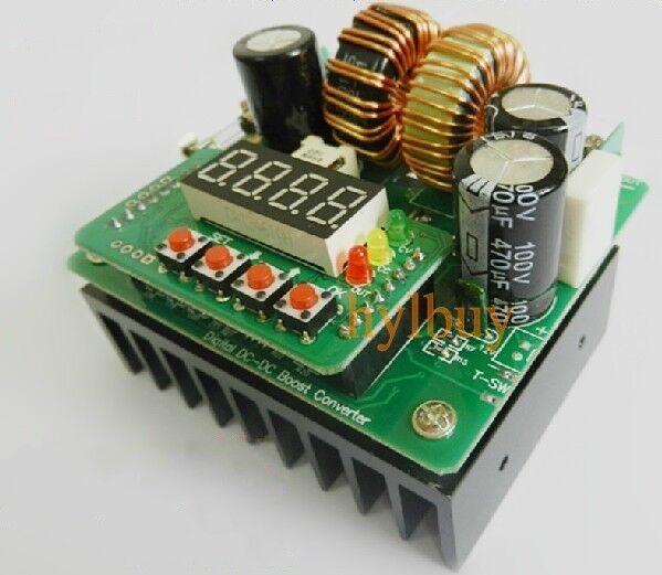 Digital Led 400W 10A DC Step-up constant voltage current boost Converter 8V-80V