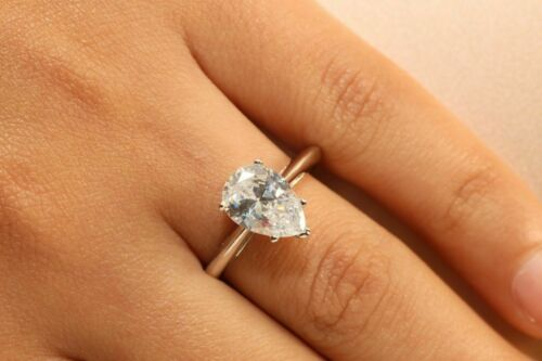 2.00Ct Pear-Cut Brilliant Diamond Solitaire Engagement Ring 14k White Gold Over