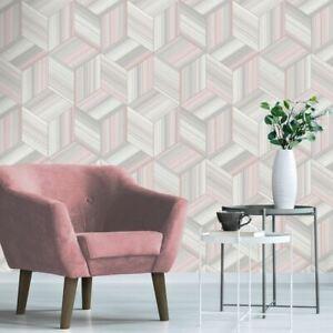 Hudson-Papier-Peint-Geometrique-3D-Effet-Fard-Rose-Dore-Rose-9791-Belgravia