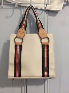 VINTAGE-ANNA-SUI-Beige-Canvas-Mini-Tote-With-Leather-And-Brass-Fastening