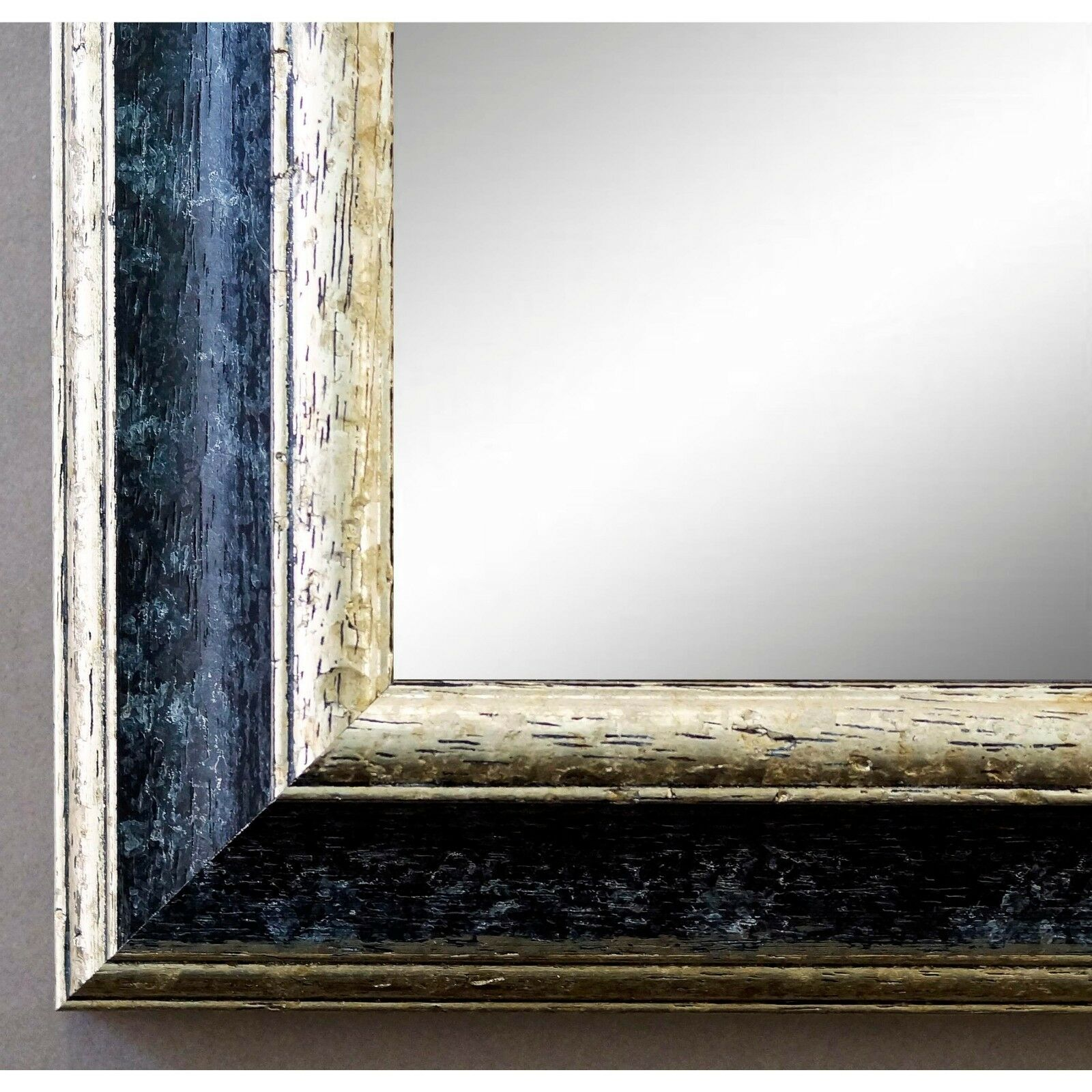 Badspiegel Schwarz Silber Genua Antik Barock 4,2 - NEU alle Größen