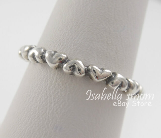 51d028a75 FOREVER LOVE Genuine PANDORA Silver HEARTS Stackable BAND Ring 4.5/48 190837  NEW