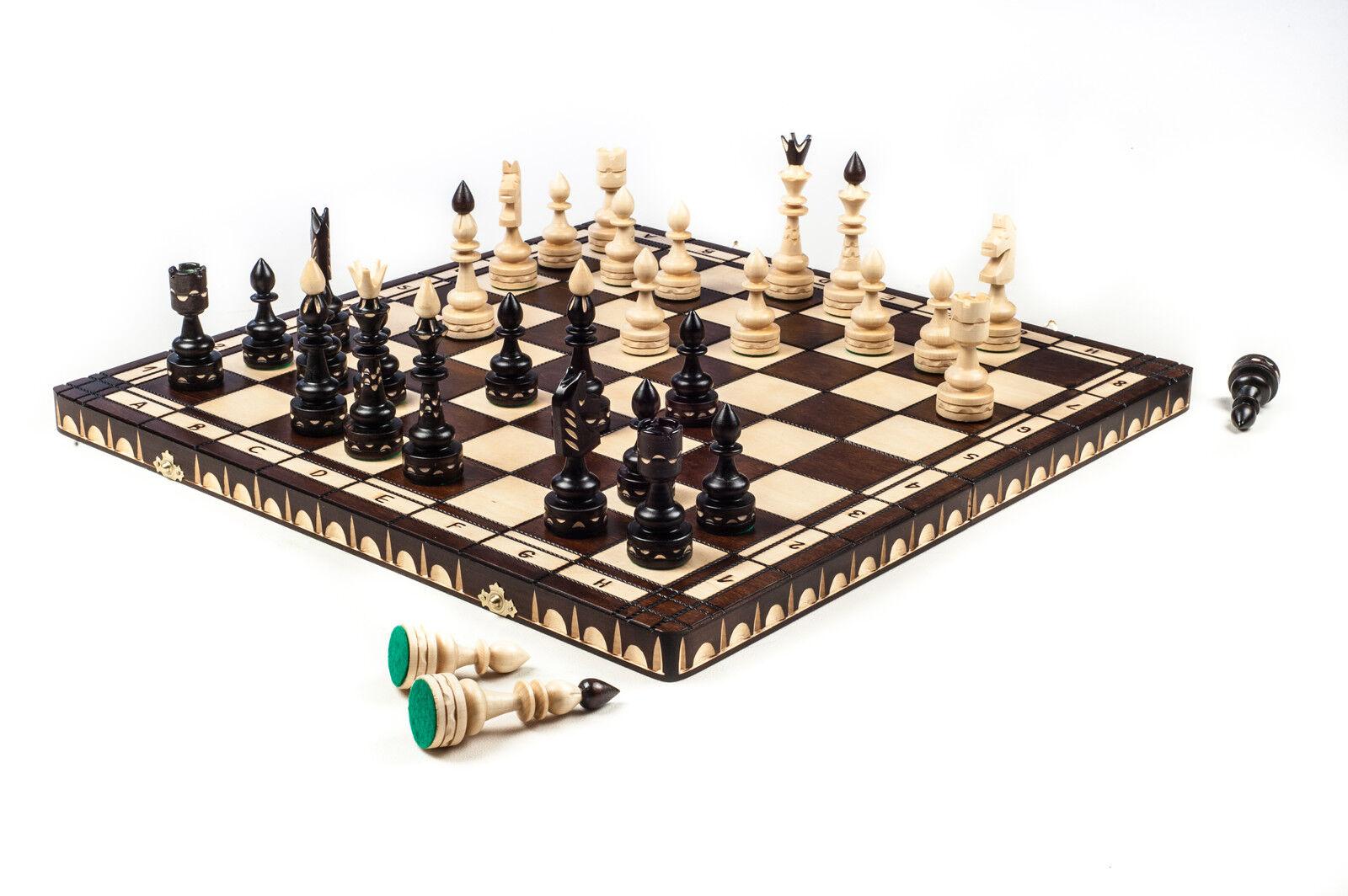 Nouvelle marque marque marque de luxe ♜ main indien sculpté jeu d'échecs en bois 53 cm x 53 cm ♞ 0319a1