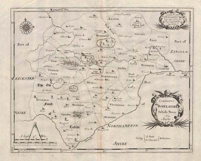 2019 Fashion Rutland. 'comitatus Rotelandiae' By Robert Morden. Camden's Britannia C1695 Map